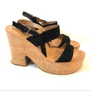 Dolce Vita Black Cork Chunky Platform Rosa Sandals